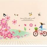 Decal dán tường Cô gái chở hoa