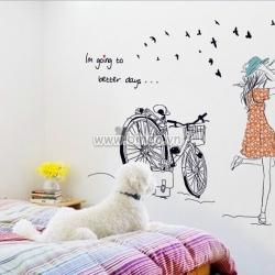 Decal dán tường Cô gái xe đạp