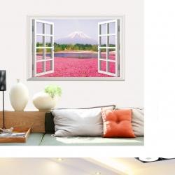 Decal dán tường Cửa sổ hoa hồng