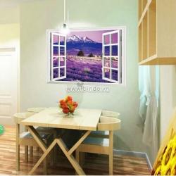 Decal dán tường Cửa sổ hoa tím