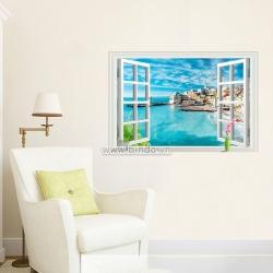 Decal dán tường Cửa sổ thành phố biển