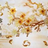 Decal dán tường Cửu ngư và cành hoa mai vàng