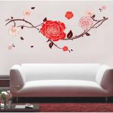 Decal dán tường Dây leo hoa hồng đỏ