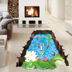 Decal dán tường Decal 3D Hồ Cá chép Koi 5
