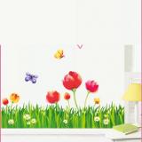 Decal dán tường Decal chân tường hoa tulip to