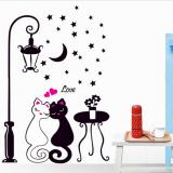 Decal dán tường Đôi mèo trắng đen