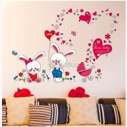 Decal dán tường Đôi thỏ đáng yêu