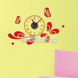 Decal dán tường Đồng hồ cánh bướm đỏ