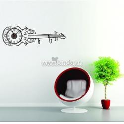 Decal dán tường Đồng hồ cây đàn