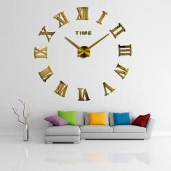 Decal dán tường Đồng hồ chữ số la mã  khổ lớn màu vàng