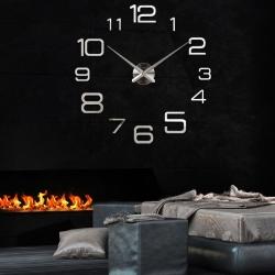 Decal dán tường Đồng hồ chữ số thường khổ lớn màu bạc