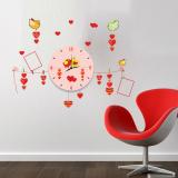 Decal dán tường Đồng hồ kèm khung ảnh đôi chim tình yêu