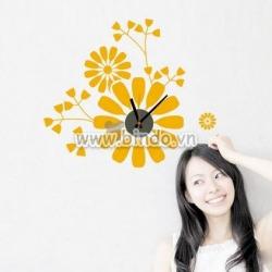 Decal dán tường Đồng hồ hoa màu cam