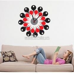 Decal dán tường Đồng hồ họa tiết đen đỏ