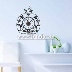 Decal dán tường Đồng hồ trái táo