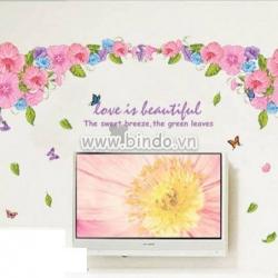 Decal dán tường Giàn hoa râm bụt