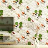 Giấy dán tường 3d Cá chép và hoa sen