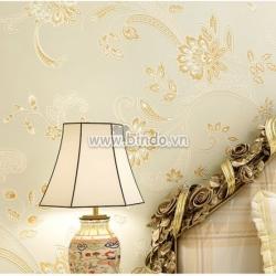 Giấy dán tường 3d họa tiết hoa  vàng 2