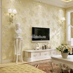 Giấy dán tường 3d họa tiết hoa vàng