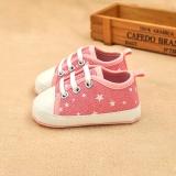 Giày tập đi cho bé màu hồng chấm ngôi sao