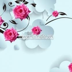 Decal dán tường Hoa hồng 3D