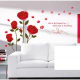 Decal dán tường Hoa hồng nhung đỏ
