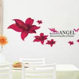 Decal dán tường Hoa ly đỏ
