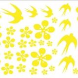 Decal dán tường Hoa mai và chim én