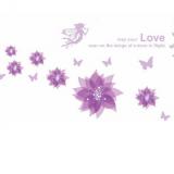 Decal dán tường Họa tiết hoa tím