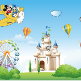 Decal dán tường Chuột Mickey chơi công viên