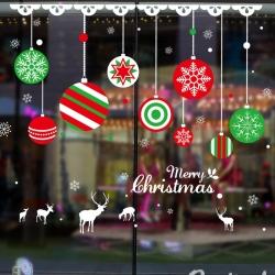 Decal dán tường Noel 52 - Qủa châu sắc màu