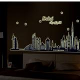 Decal dán tường Thành phố Dubai dạ quang