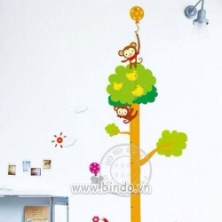 Decal dán tường Thước đo đàn khỉ nhỏ
