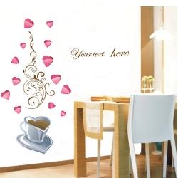 Decal dán tường Trái tim cà phê