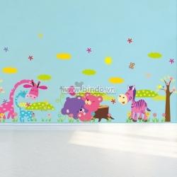 Decal dán tường Vườn thú ngựa gấu hươu voi (dán 16 kiểu)