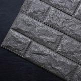 Decal dán tường Xốp đá Hàn Quốc miếng vuông màu đen xám
