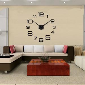 Decal dán tường Đồng hồ chữ số thường khổ lớn màu đen