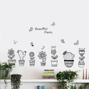 Decal dán tường Bảy chậu cây trắng đen