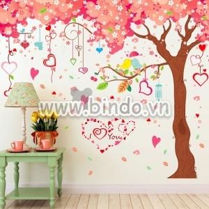 Decal dán tường Cây hồng trái tim