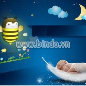 Decal dán tường Đèn ngủ ong vàng