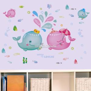 Decal dán tường Đôi cá đáng yêu
