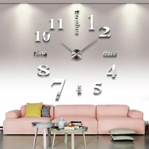 Decal dán tường Đồng hồ chữ và số khổ lớn màu bạc