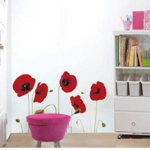 Decal dán tường Hoa đỏ 1