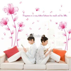 Decal dán tường Hoa thủy tinh hồng