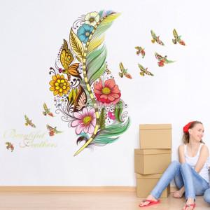 Decal dán tường Hoa và chim