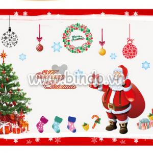 Decal dán tường Noel to 4 (ông già noel và quà tặng)