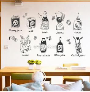 Decal dán tường Thức uống tổng hợp