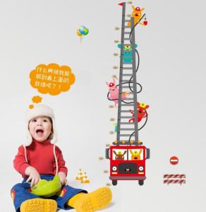 Decal dán tường Thước đo xe thang