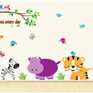 Decal dán tường Vườn thú 4