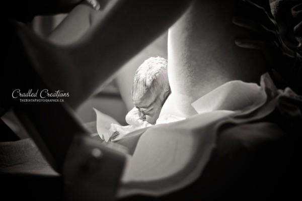 Bộ ảnh em bé được chui ra từ cửa mình của mẹ đầy chân thực